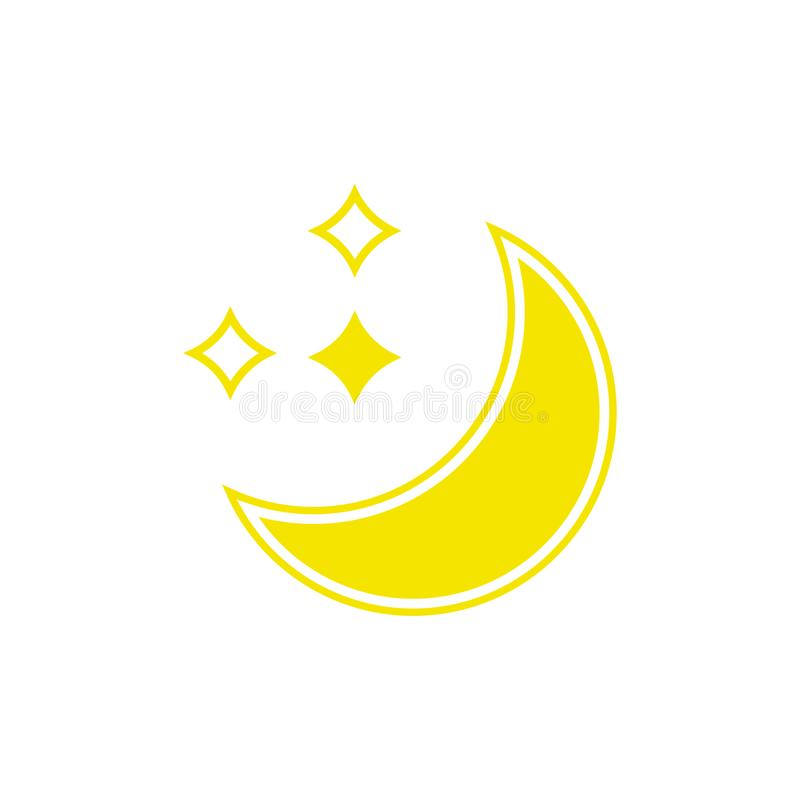 Vector weather icon of moon with stars to show the clear night forecast and the current climate outside. For applications, widgets, and other meteorological vector illustration