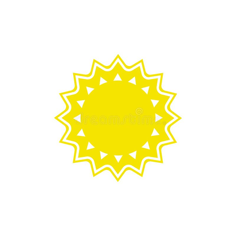 Vector weather icon of sun to show the sunny warm forecast and the current climate outside. For applications, widgets, and other meteorological designs stock illustration