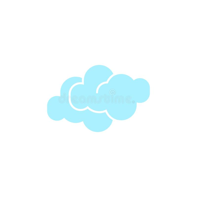 Vector weather icon of two blue clouds to show the cloudy forecast and the current climate outside. For applications, widgets, and other meteorological designs royalty free illustration
