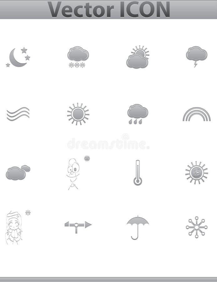 Vector Weather Icons. web set gray icon. stock illustration