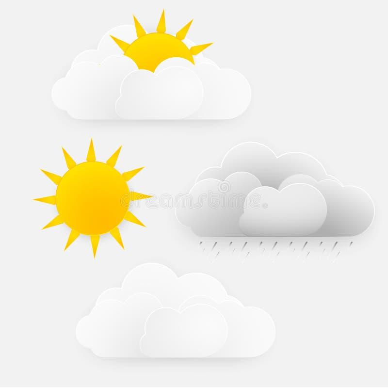 Vector weather season design, sun with clouds and rai. stock illustration