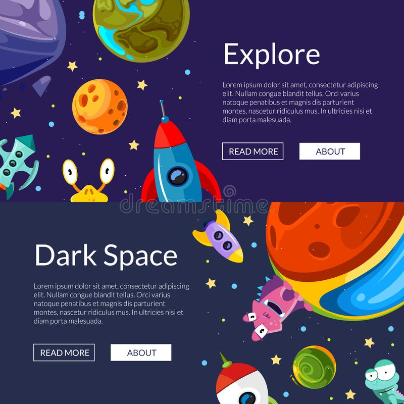 Vector web banners illustration with cartoon space planets and ships stock illustration
