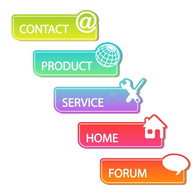 Vector web buttons. Navigation bar set. Menu element labels for website layout. Illustration vector illustration