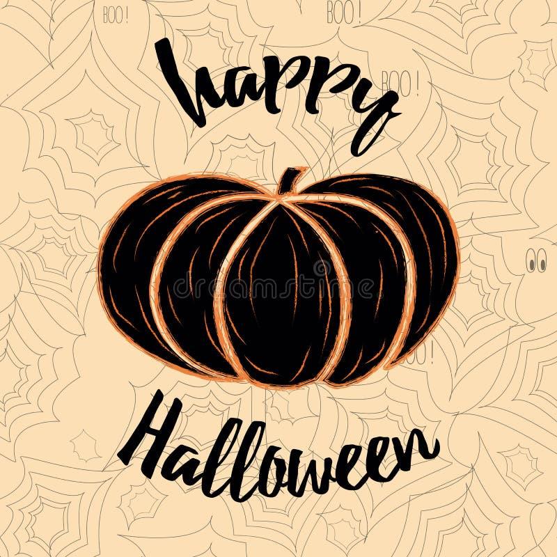 Vector a Web decorada Dia das Bruxas feliz da abóbora e de aranha do cartão ilustração do vetor