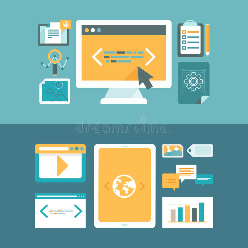 Vector web development and digital content marketing royalty free illustration
