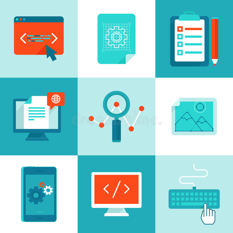 Vector web development and programming icons in flat style vector illustration