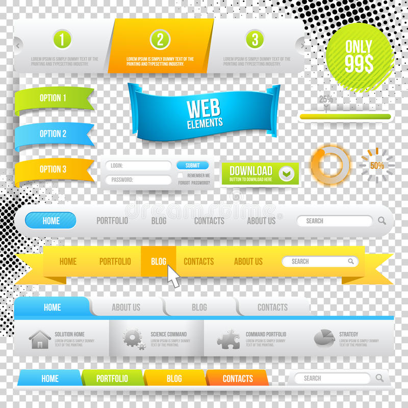 Vector Web Elements, Buttons and Labels. Site Navigation