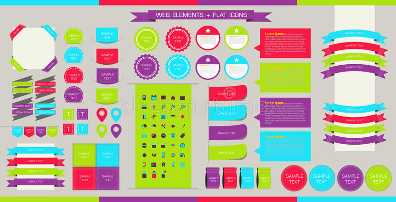 Vector Web Elements, Buttons and Labels. Site Navigation,Flat icons,website design elements . stock illustration