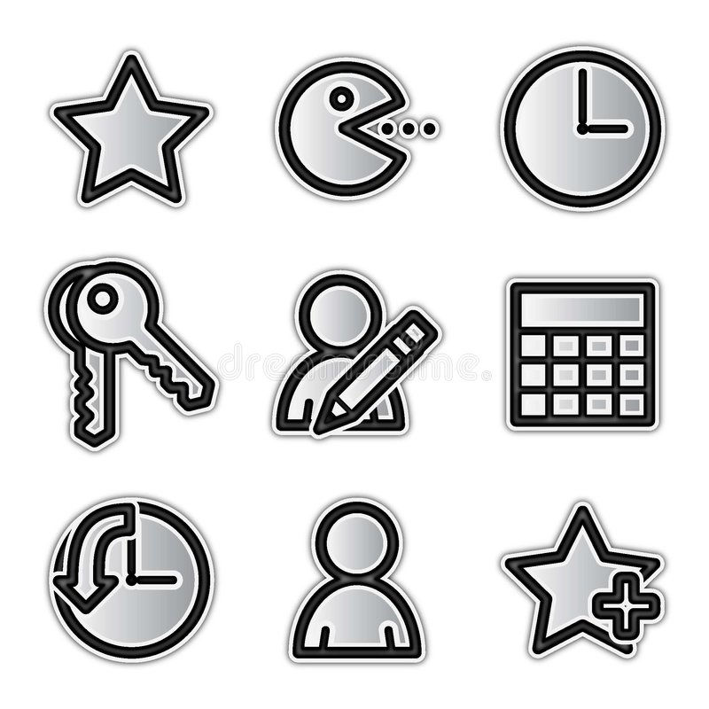 Vector web icons, silver contour favorites royalty free illustration