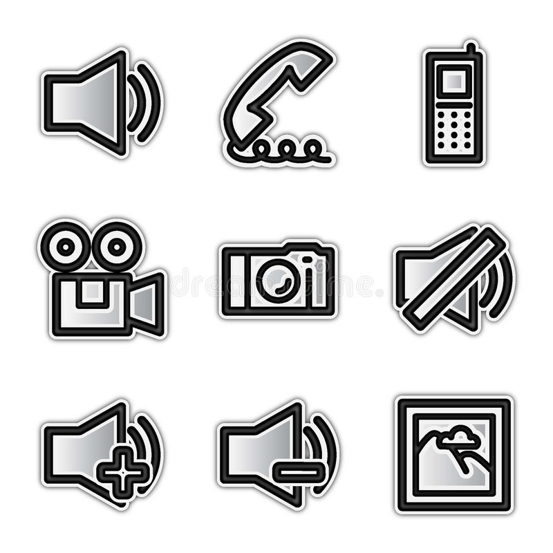 Vector web icons, silver contour media royalty free illustration