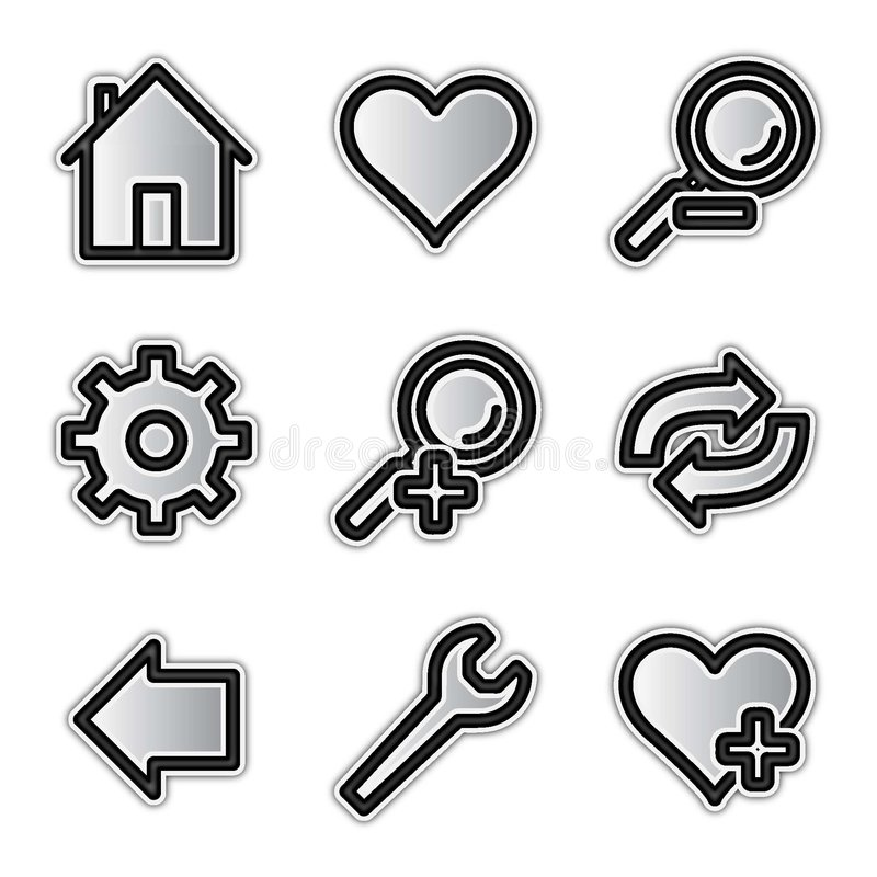 Vector web icons, silver contour tools vector illustration
