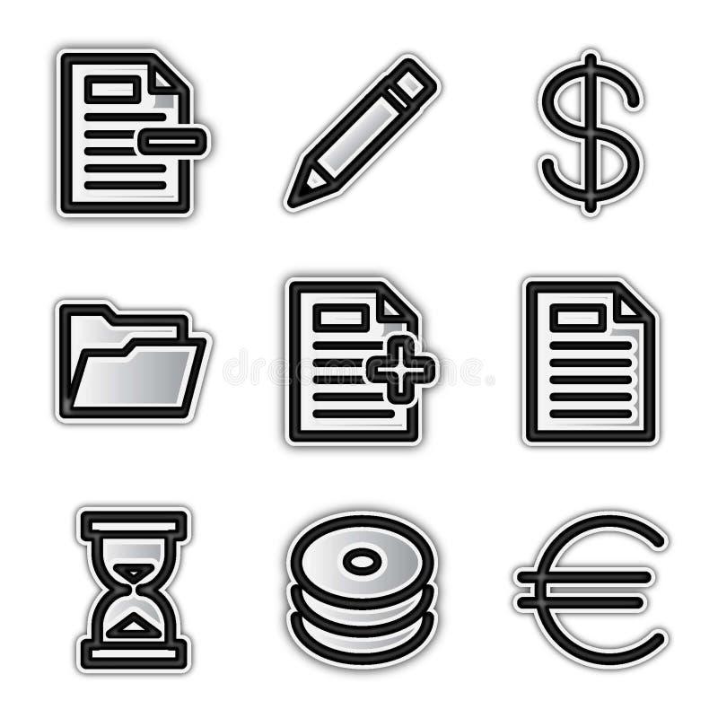 Vector web icons, silver contour various vector illustration