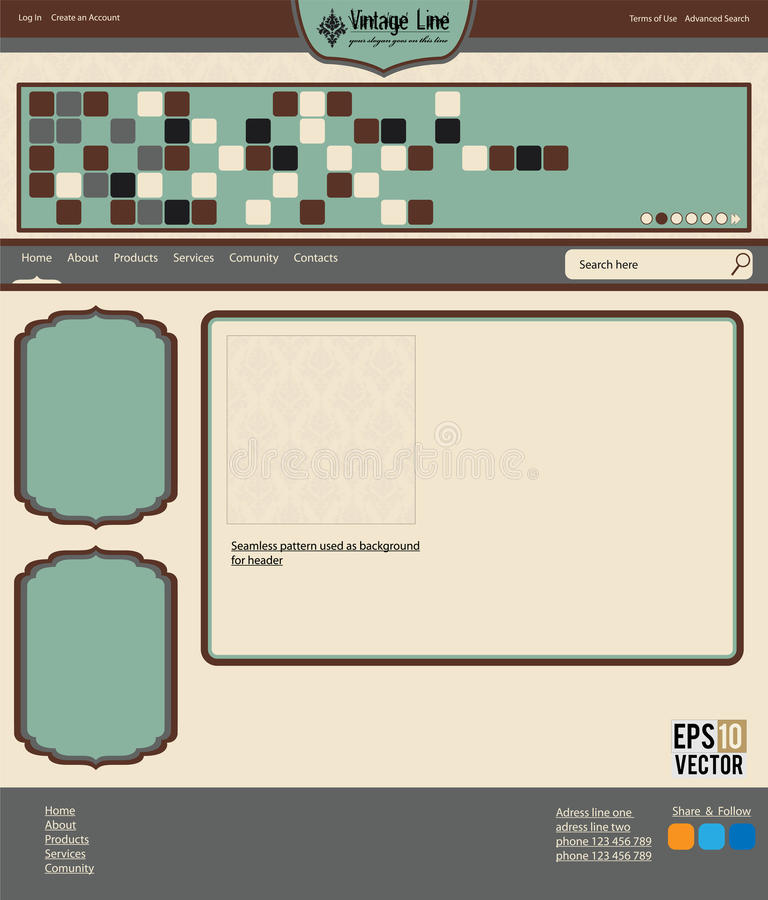 Download Vector web layout stock vector. Illustration of footer - 21356986