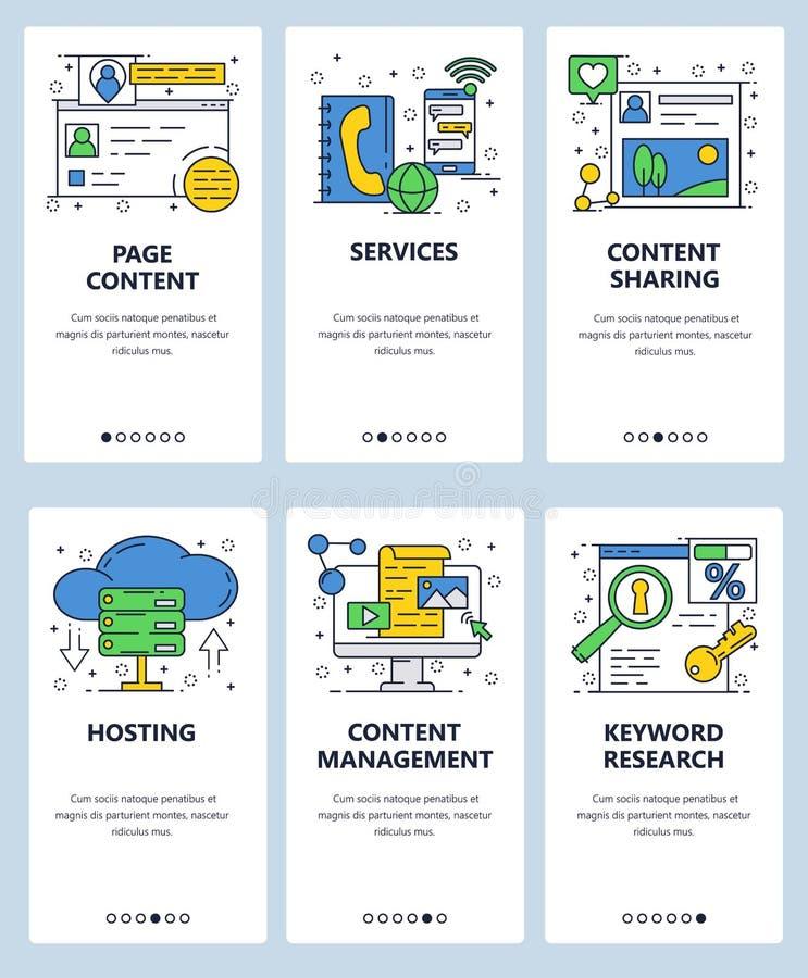 Vector web linear art onboarding screens template. Website internet hosting and content management. Menu banners for. Website and mobile app development. Modern stock illustration