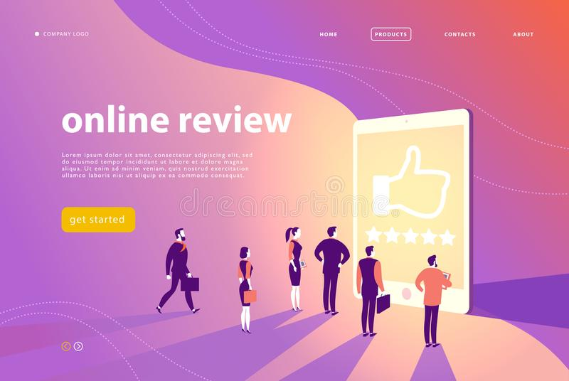Vector web page concept design with online review theme - office people stand at big digital tablet watch shining screen with five royalty free illustration