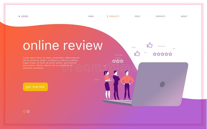 Vector web page concept design with online review theme. stock illustration