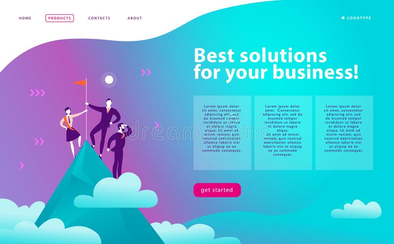 Vector web page design template - business solutions, consulting, marketing, support concept. People standing on mountain peak wit. H winner flag. Success team royalty free illustration