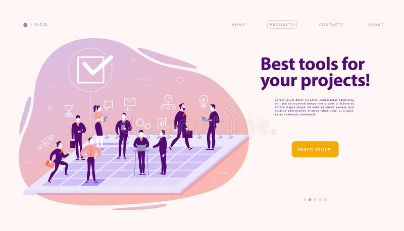 Vector web page design template for complex business solutions, project support & consulting, modern technology, service, time man stock illustration