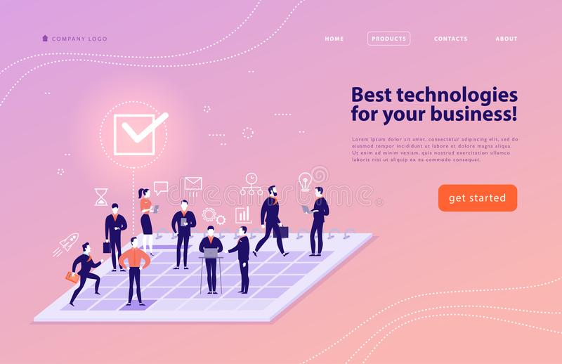 Vector web page design template for complex business solutions, project support, online consulting, modern technologies, time mana vector illustration