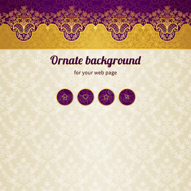 Vector web page design template in Eastern style. royalty free illustration