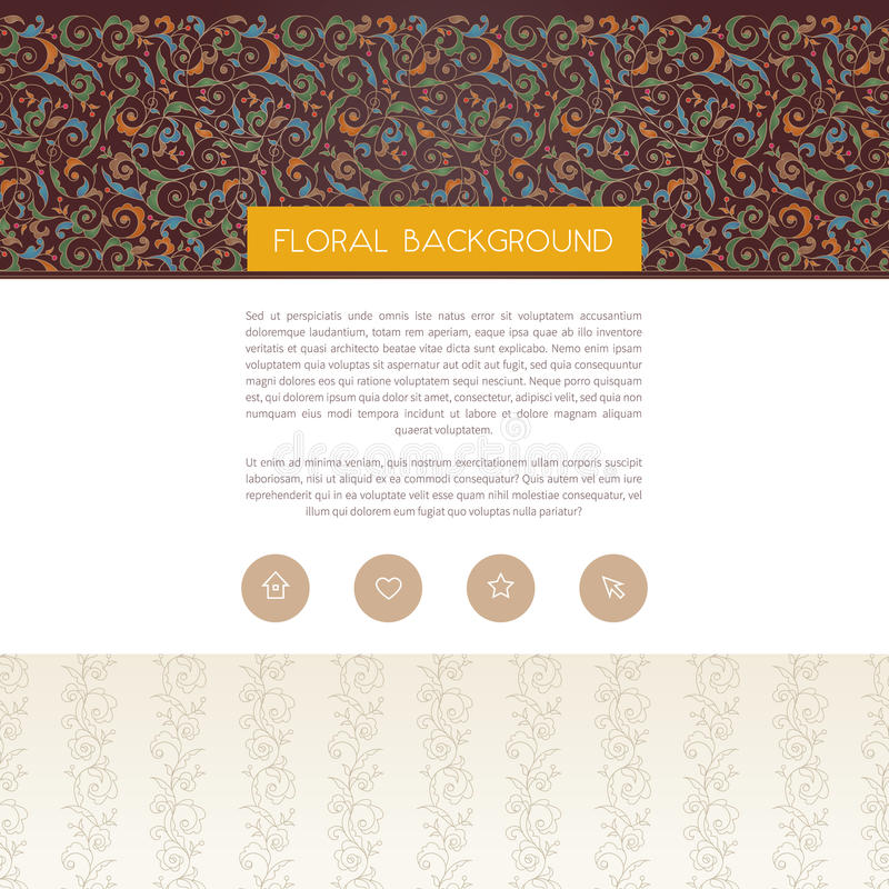 Vector web page design template in floral style. Vector web page design template in Eastern style. Ornate seamless border.Ornamental vintage element, place for royalty free illustration