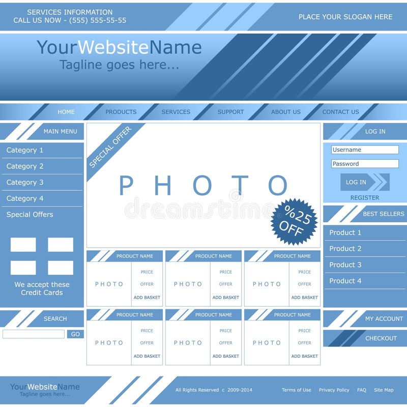 Vector web page template