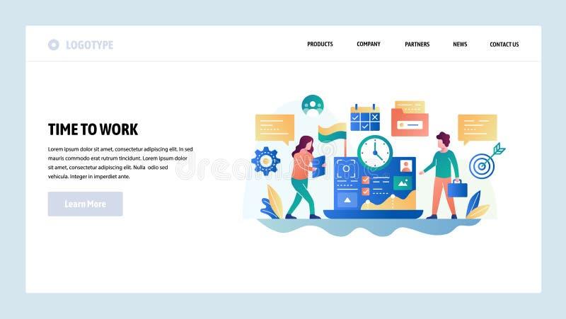 Vector web site design template. Business development, office teamwork, project deadline. Landing page concepts for. Website and mobile development. Modern flat vector illustration