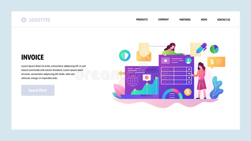 Vector web site design template. Business documents and finance management, invoice payment. Landing page concepts for vector illustration