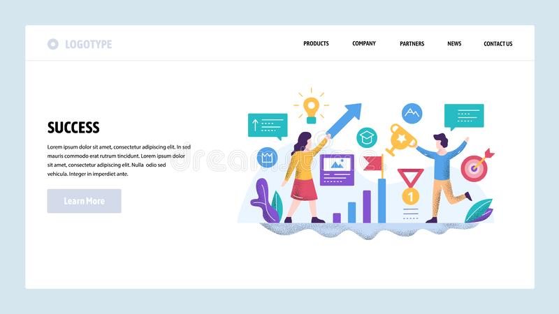 Vector web site design template. Business leadership and success. Businessman win competition. Landing page concepts for. Website and mobile development. Modern vector illustration