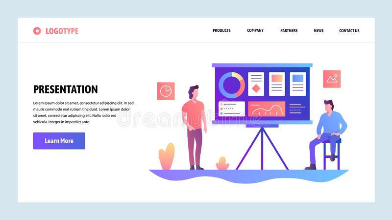 Vector web site design template. Business presentation with financial charts. Landing page concepts for website and. Mobile development. Modern flat vector illustration