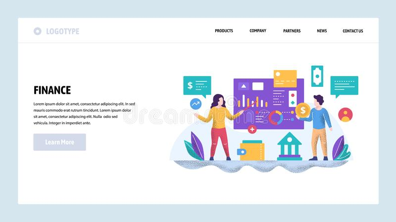 Vector web site design template. Business presentation and financial charts. Teamwork meeting and finance education. Vector web site design template. Business royalty free illustration