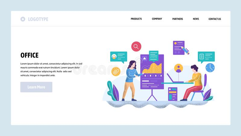 Vector web site design template. Business presentation and financial charts. Teamwork meeting and finance education. Vector web site design template. Business vector illustration