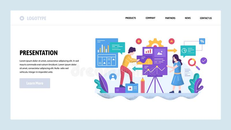 Vector web site design template. Business presentation and financial charts. Teamwork meeting. Landing page concepts for. Website and mobile development. Modern royalty free illustration