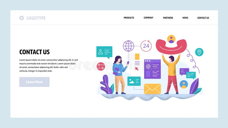 Vector web site design template. Call center and helpline support. Contact us page. Landing page concepts for website. And mobile development. Modern flat royalty free illustration