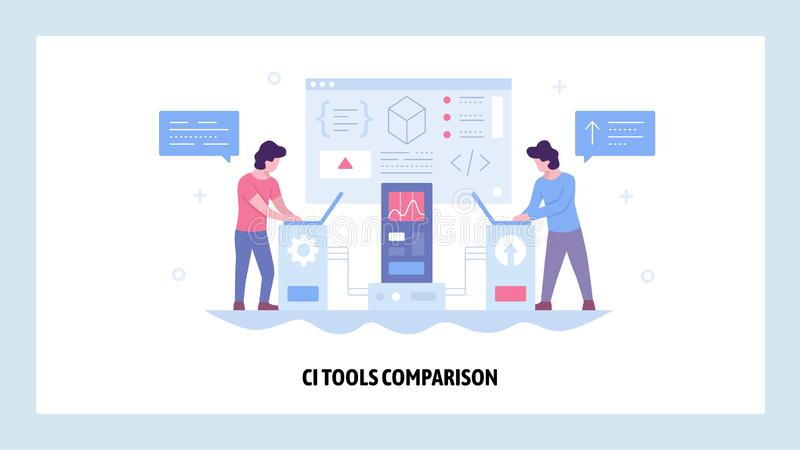 Vector web site design template. Continuous Integration CI software development. Agile methodology of coding. Landing. Page concepts for website and mobile vector illustration