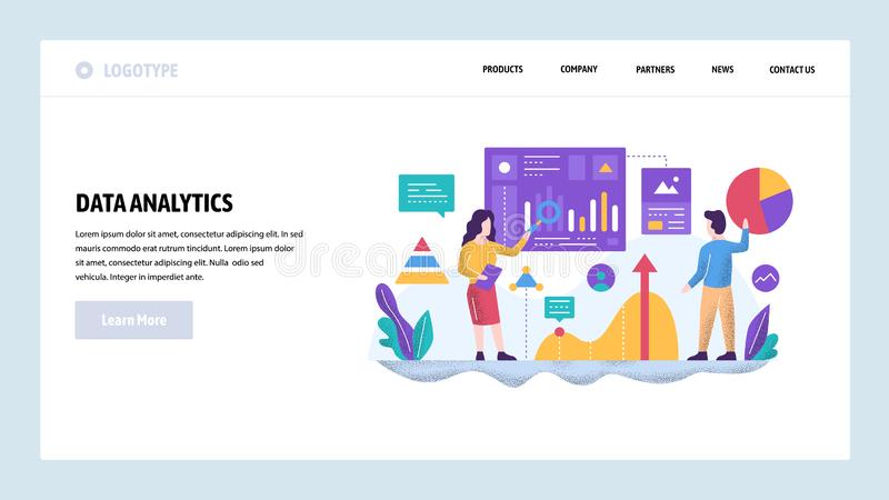 Vector web site design template. Data analytics concept. Financial report and presentation, teamwork meeting in office. Vector web site design template. Data royalty free illustration