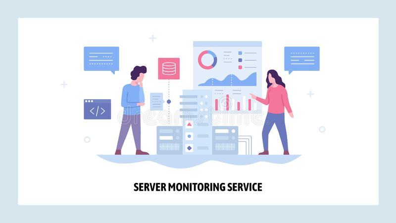 Vector web site design template. Data center server monitoring system. Network and computer performance chart. Landing. Page concepts for website and mobile stock illustration