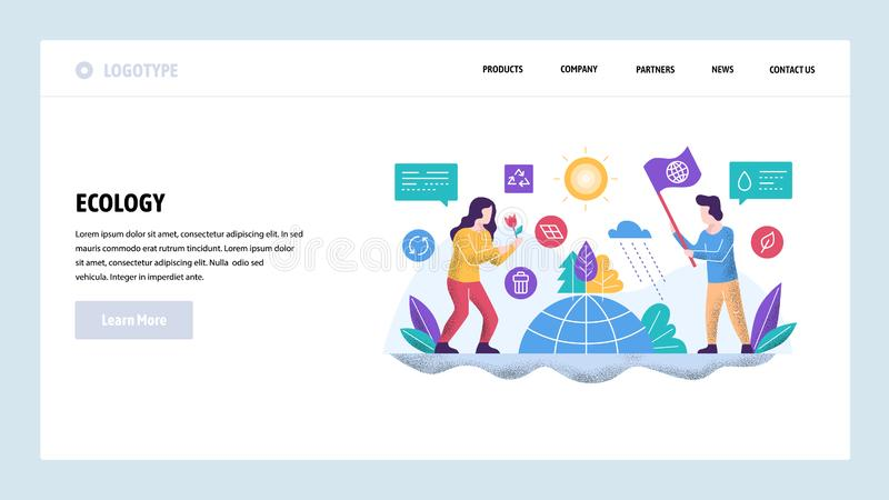 Vector web site design template. Ecology environmental concept. Save the world. Landing page concepts for website and. Mobile development. Modern flat vector illustration