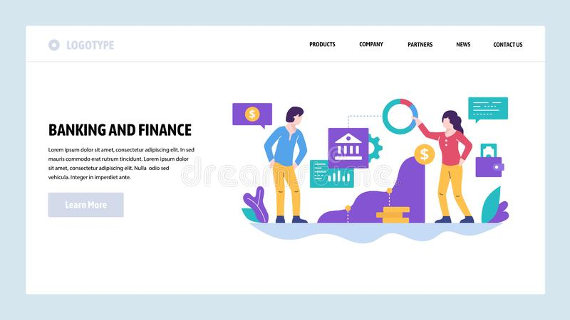 Vector web site design template. Finance and business strategy, bank investment, money. Landing page concepts for. Website and mobile development. Modern flat stock illustration