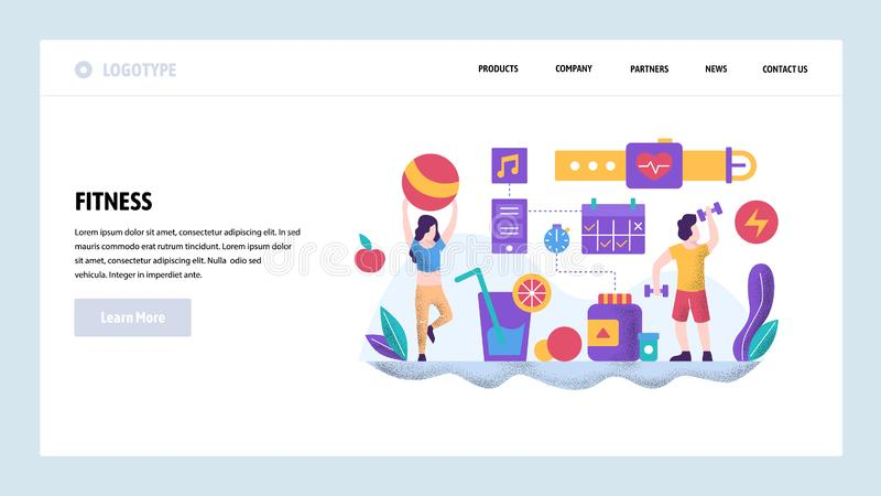 Vector web site design template. Fitness and healthy lifestyle. Couple working out in gym. Landing page concepts for. Website and mobile development. Modern vector illustration
