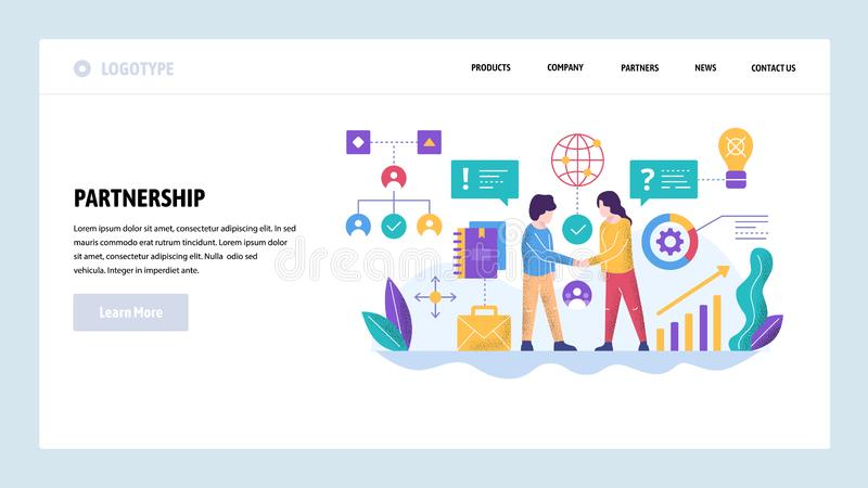 Vector web site design template. Global business partnership. Agreement handshake. Landing page concepts for website and royalty free illustration