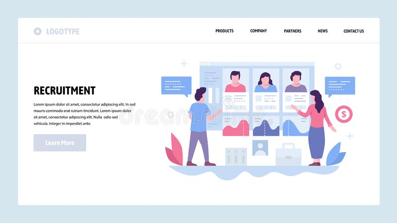 Vector web site design template. Job recruitment, candidate CV profiles, HR human resources. Landing page concepts for. Website and mobile development. Modern stock illustration