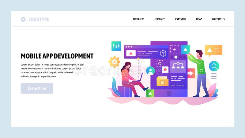 Vector web site design template. Mobile app development team, programmer build a software code. Landing page concepts. For website and mobile application royalty free illustration