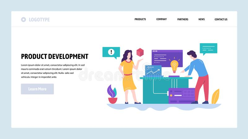 Vector web site design template. New product development, creatice idea. Team work in office. Landing page concepts for vector illustration
