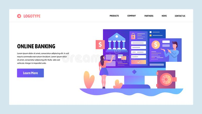 Vector web site design template. Online banking and digital money service. Landing page concepts for website and mobile. Development. Modern flat illustration vector illustration