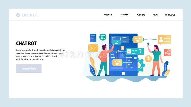 Vector web site design template. Online chat bot, mobile AI robot technology. Landing page concepts for website and. Mobile development. Modern flat royalty free illustration