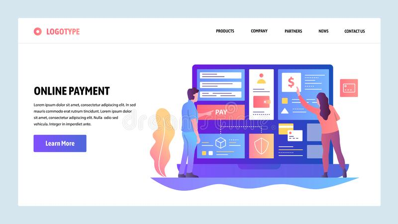 Vector web site design template. Online shopping and internet digital money payment and transfer. Landing page concepts. For website and mobile development vector illustration