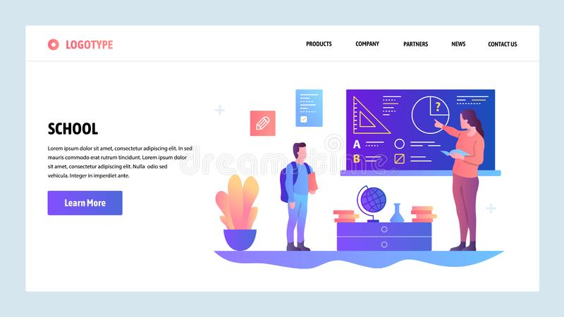 Vector web site design template. School education. Teacher gives lesson to pupil. Landing page concepts for website and. Mobile development. Modern flat stock illustration