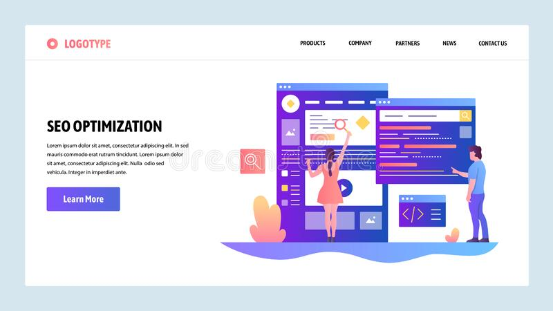 Vector web site design template. Search Engines optimization SEO and digital marketing. Landing page concepts for. Website and mobile development. Modern flat stock illustration