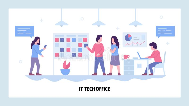 Vector web site design template. Software development company office with scrum board. Agile development, teamwork stock illustration